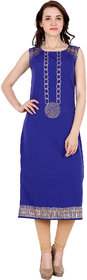 Fabster Women's smart fit  straight Blue Color Kurti