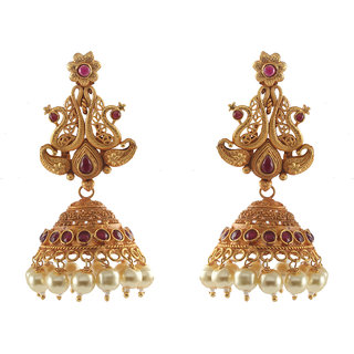 Ethnic Gold Matt Finish Jhumki Earrings with pearl Drops