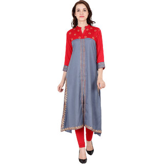 Fabster Women's smart fit  flaired multi Color Kurti