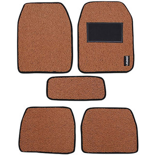 Leganza Car Mats for Renault Kwid - Grass Curly Noodle design, Tan colour (Free Air freshener)
