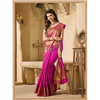 Bhuwal Fashion Plain Polycotton Saree With Blouse-BF144