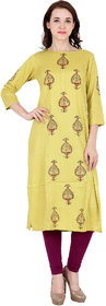 Fabster Women's smart fit  straight yellow Color Kurti
