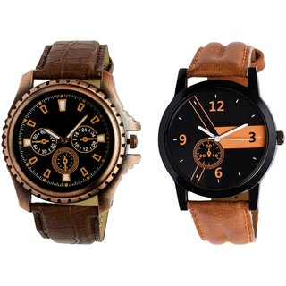 HRV KJR-1 4 Round Black Dial Analog Watch Combo for Men