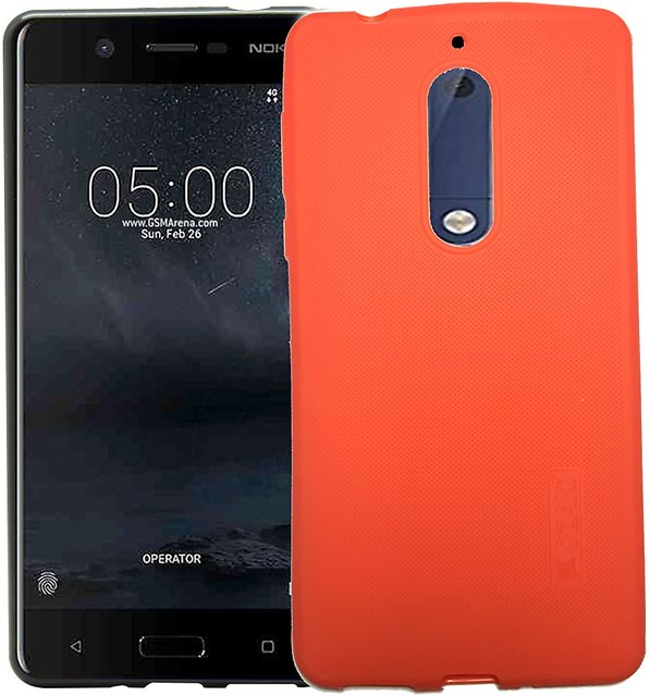 Soft Silicone Shockproof Slim Back Case Cover With Anti Dust Plugs for  NOKIA 6 (RED)