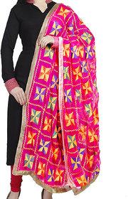 Weavers Villa Punjabi Hand Embroidery Phulkari Faux Chiffon Pink Dupatta, Stoles