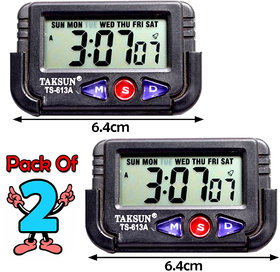 Pack of 2 Mini Digital All In One LCD Alarm Table Desk Calendar Clock With Timer Stopwatch for Cars