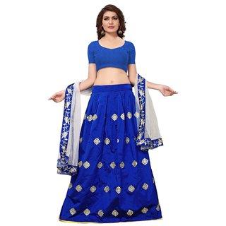 Active Womens Taffeta Embroidery Semi-Stitched Lehenga Choli (Free SizeBlueL-89 Silver Blue Lehenga)