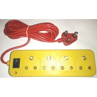 Extention Cord/Bord,4 Socket With Master Switch,LED Indicator, Hard Fiber Body, Brass Metal Pin,Aprox 5 Yard Long Wire