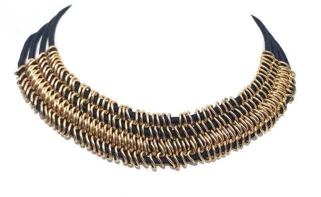 fe4deff016df9 black choker necklaces wiith golden metal rings Bollywood jewelry for women  stylish