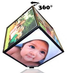 Rotating Photo Cube 360 Degree Battery Operated Magical Photo Cube Frame For Home  For Office Desk