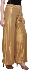 women Slim Fit Women's Gold Trousers palazzo free size