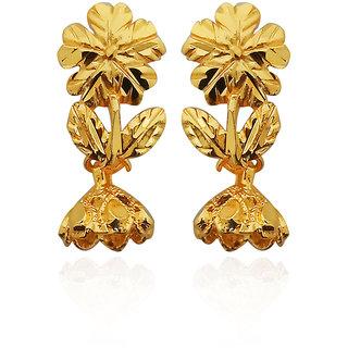 JewelMaze Zinc Alloy Floral Design Gold Plated Dangler Earring-1311723