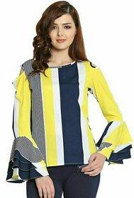 women's Yellow strip printed Crepe Top,