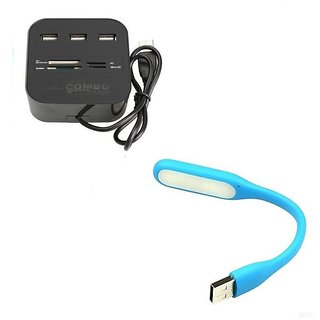 Multi-card Reader with 3-port USB 2.0 Hub Combo for SD/MMC/M2/MS Memory Card With Flexible USB Light(Blue Black)
