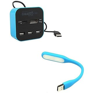Multi-card Reader with 3-port USB 2.0 Hub Combo for SD/MMC/M2/MS Memory Card With Flexible USB Light(Blue Blue)