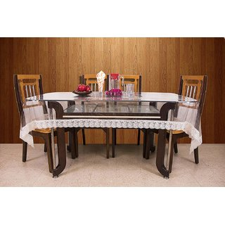 Home Fashion Dining Table Cover For 6 Seaters With, With White Border Lace, Size (60 x 90 inches)