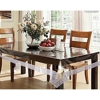 Home Fashion Dining Table Cover for 8 Seaters, With With Silver Border Lace, Size (60 x 108 inches)
