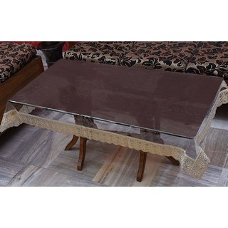 Home Fashion Center Table Cover, With Gold Border Lace, Size (40 X 60 Inches)
