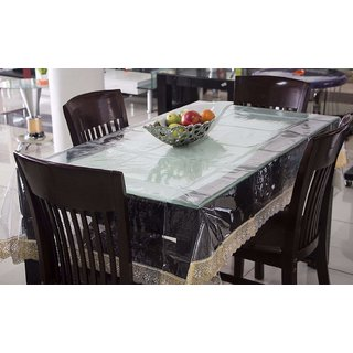 Home Fashion Table Cover For 4 Seaters, With Gold Border Lace, Size (54 x 78 inches)