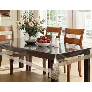 Home Fashion Dining Table Cover For 6 Seaters With, With Gold Border Lace, Size (60 x 90 inches)