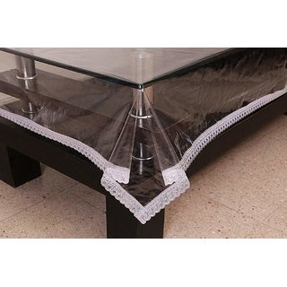 Home Fashion Center Table Cover Size (40 X 60 Inches) With 1 inc. Silver Lace