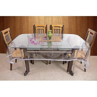 Home Fashion Dining Table Cover For 6 Seaters With Size (60 x 90 inches) With 1 inc. Silver Lace