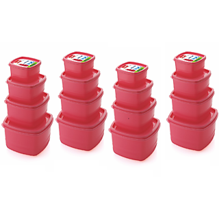 Airtight Plastic Food Storage Containers Set of 16 PCS (1350 ml 750 ml 500 ml 250 ml) RED
