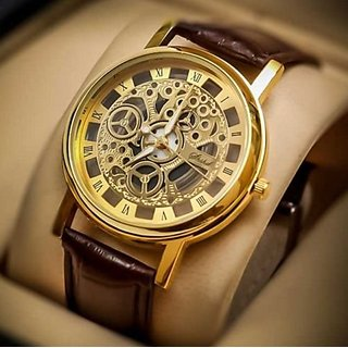 idivas 9 Round Dial Brown Leather Strap Quartz Watch For Men
