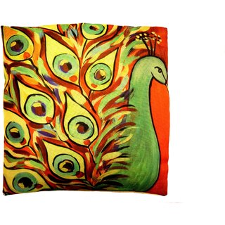Home Fashion Jute Digital 3D Print Cushion Cover 16X16 1 Piece/peacock