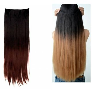 Tahiro Black Half Red And Black Half Brown Hair Extension Combo