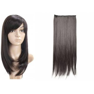 Tahiro Black Hair Wig And Black Hair Extension Combo