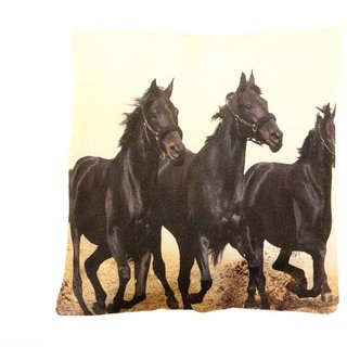 Home Fashion Jute Digital 3D Print Cushion Cover 16X16 1 Piece/horse