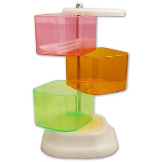 BANQLYN High Quality 3 Layer multi color rotating Creative blenders flavors box Seasoning Rack Spices Box Storage