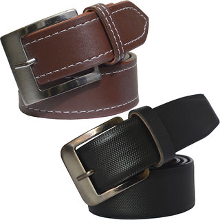 Sunshopping men's brown and black leatherite needle pin point buckle (Pack of two)