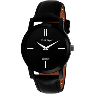 idivas 11 Round Black Dail Black Leather Strap Analog Watch For Mens
