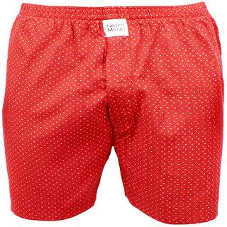 Neska Moda Men Elasticated Cotton Red Boxer With 1 Back Pocket XB152