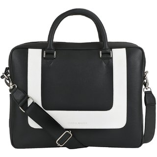 466bf606f7 Buy TRAFELWOODS Leather Black White Messenger 14 Laptop Bag DTM Handbag  Womens Shoulder Bag Work Bag Online - Get 25% Off