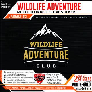 WildLife Adventure Club sticker for Maruti Suzuki Vitara brezza - White-Gold - 2Pcs - CarMetics