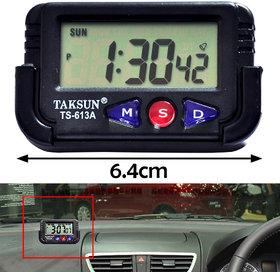 All In One Mini Digital LCD Alarm Table Desk Car Vehicle Dashbord Clock With Calendar Timer Stopwatch
