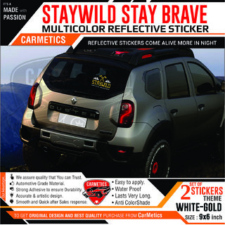 Buy Stay Wild Stay Brave Sticker For Chevrolet Beat White Gold