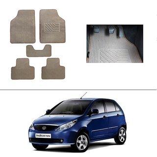 KunjZone Best Quality Set of 5 Carpet Beige Car Foot Mat / Car Floor Mat for Tata Indica Vista