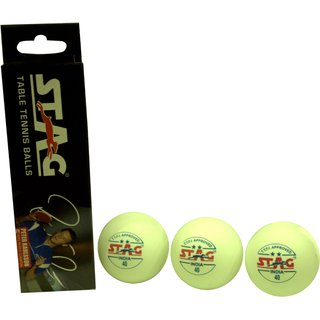 Stag Two Star Plastic Table Tennis Ball Pack of 6 (White)