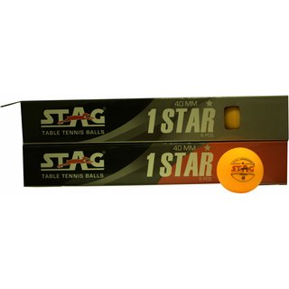 Stag One Star Plastic Table Tennis Ball Pack of 12 (Orange)