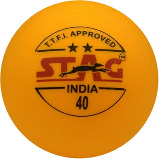 Stag Two Star Plastic Table Tennis Ball Pack of 3 (Orange)