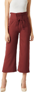 Miss Chase Women's Brick Red Solid Straight Fit Criss Cross Detailing Waist Tie-Up Pant