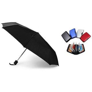 Combo of 3-Fold Black Umbrella with Aluma Wallet Card Holder(1pc)