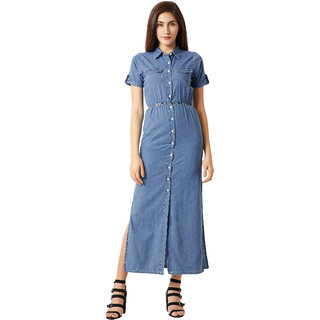 4b1cb54467 Miss Chase Women s Blue Collared Polo Neck Short Sleeve Cotton Solid Buttoned  Denim Maxi Dress