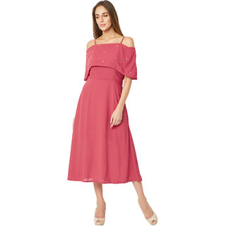 00db1fe575 Miss Chase Women s Pink Off-Shoulder Sleeveless Solid Bardot Style Pearl  Detailing Spaghetti Strap Midi