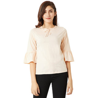 97a590084431da Buy Miss Chase Women s Peach Round Neck 3 4 Bell Sleeves Cotton Solid  Gathered Tie-Up Eyelet Detailing Top Online - Get 64% Off