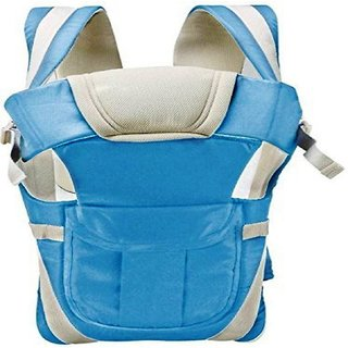 Adjustable Hands-Free 4-in-1 Baby Carrier with Comfortable Head Support Buckle Straps (Light Blue)